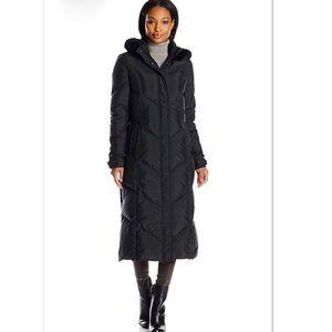 Tahari Cammy Long Down Puffer Jacket Rabbit Fur